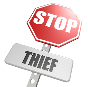 Stop thief road sign