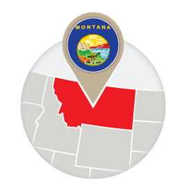 Montana map and flag