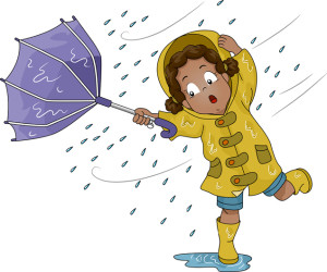 Illustration of a Little Girl Holding an Umbrella Upturned by Po