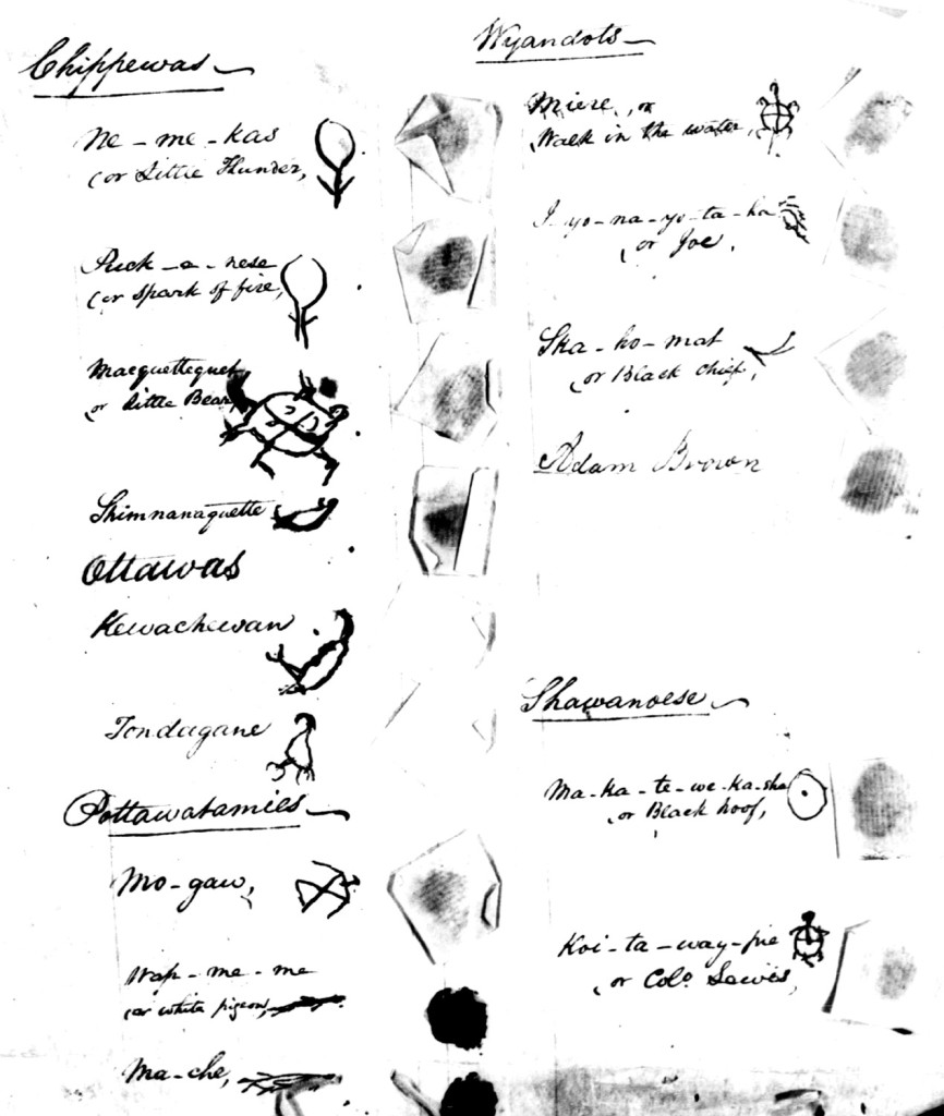 Signature page, Treaty of Brownstown, 1808 (click to enlarge)
