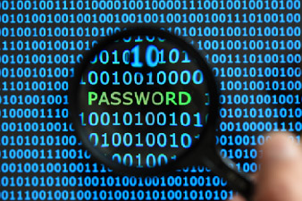 Internet security concept hacker reading the word password on a