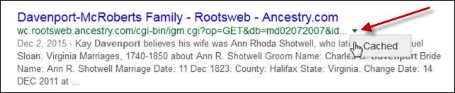 Google cached website