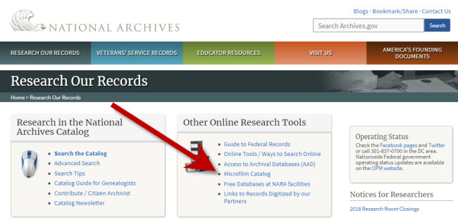 Research Records page