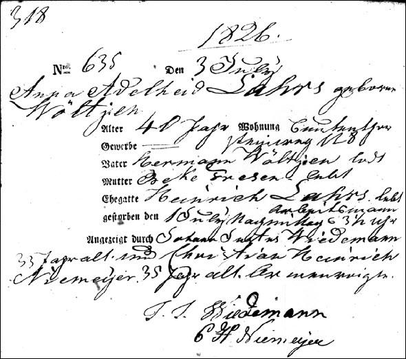 Anna Lahrs 1826