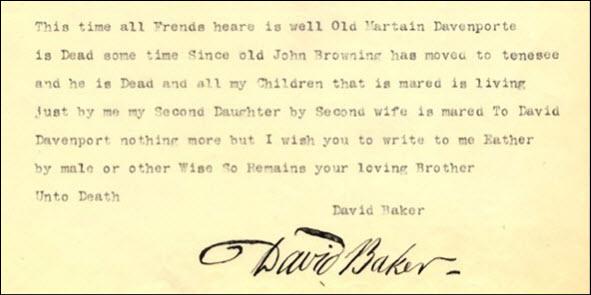 1818 Baker letter