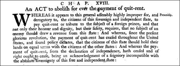 1780 quitrent law