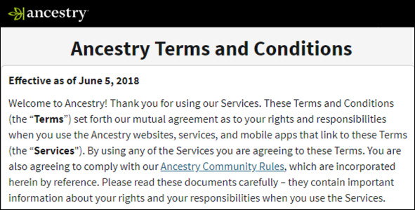 Ancestry terms of use