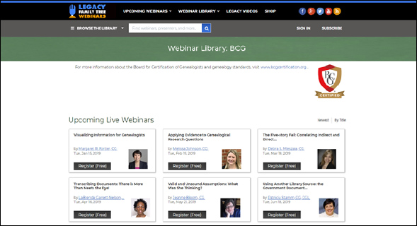 2019 BCG webinars