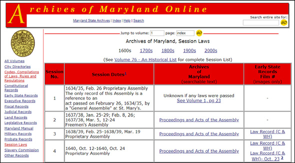 Archives of Maryland online