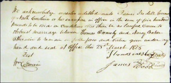 1828 marriage bond