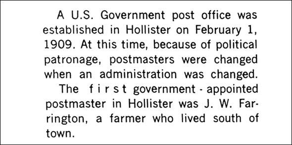 Hollister post office history