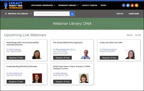 Legacy DNA webinars