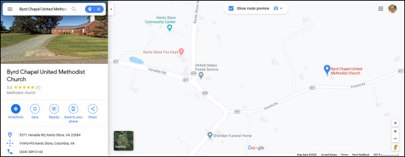 Byrd Chapel-Google maps
