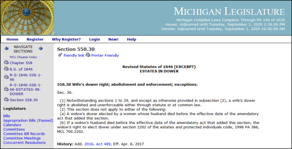 Michigan abolishes dower 2017