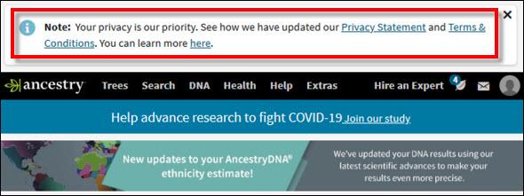 Ancestry homepage