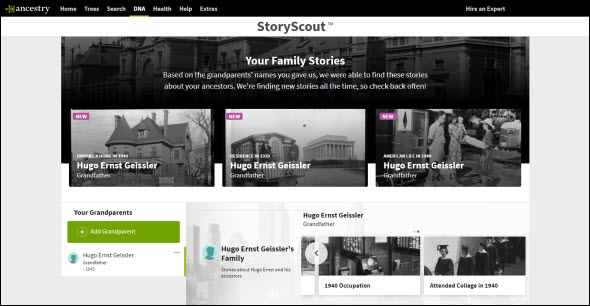 Ancestry's StoryScout